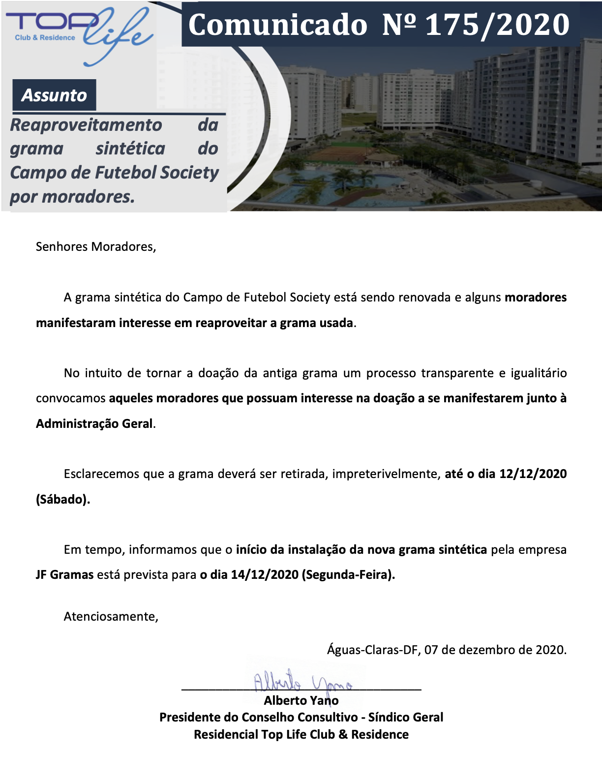 Comunicado 175/2020 - Reaproveitamento da grama sintética do Campo de Futebol Society por moradores