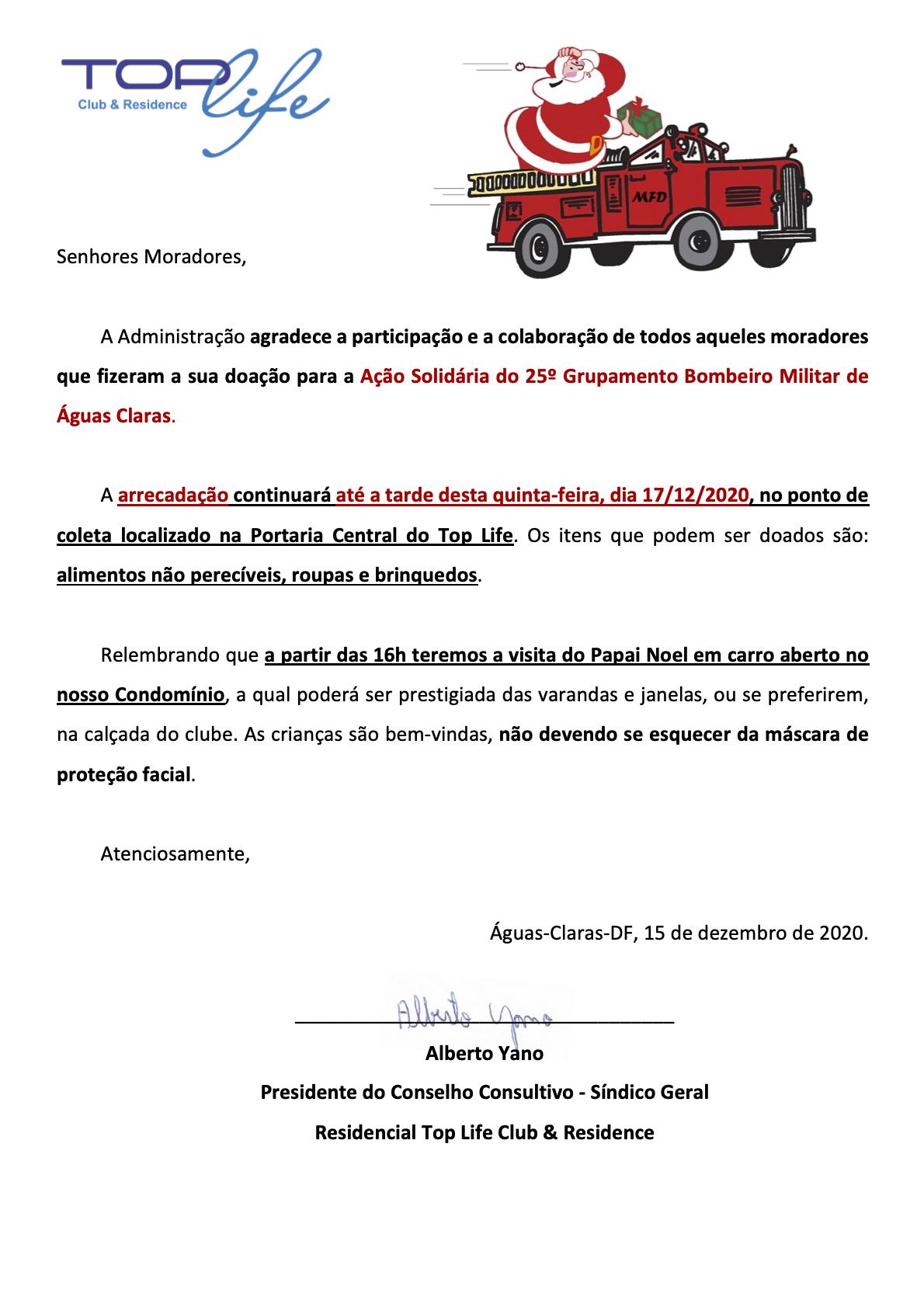 Comunicado 176/2020 - Ação Solidária 2020 CBM