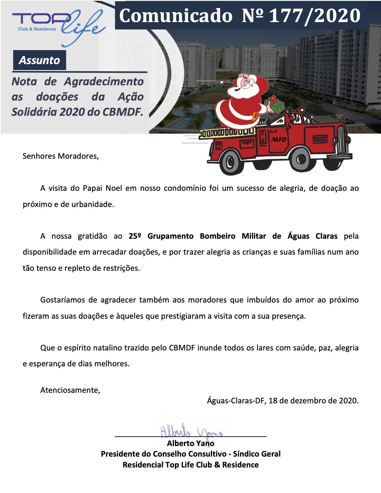 Comunicado 177/2020 - Nota de Agradecimento Ação Solidária 2020 CBMDF