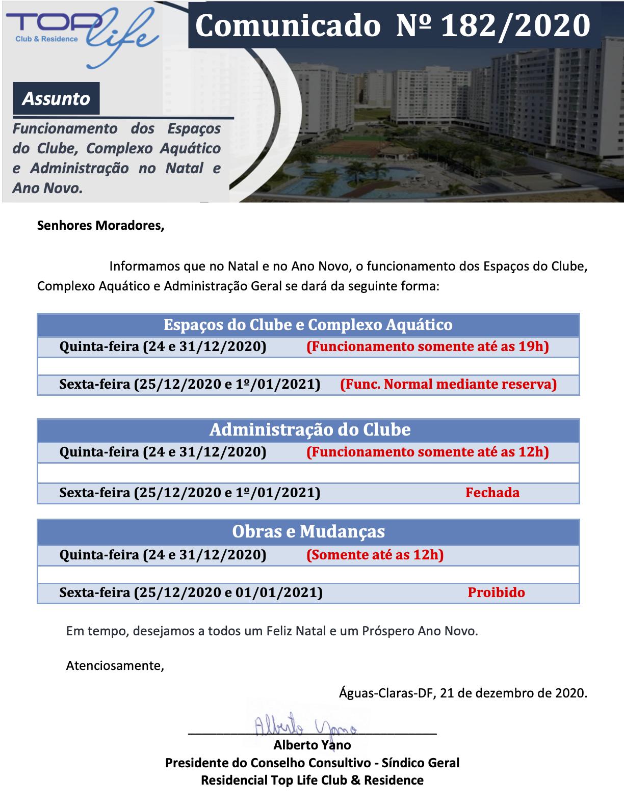 Comunicado 182/2020 - Funcionamento dos Espaços do Clube, Complexo Aquático e Administração no Natal e Ano Novo