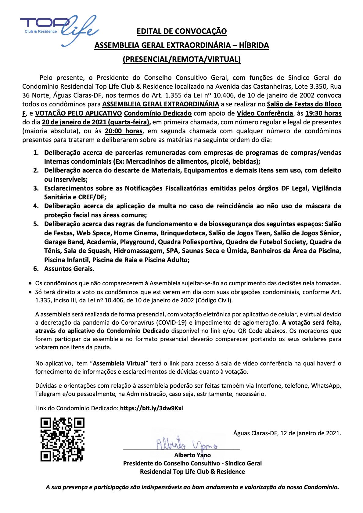 Edital Assembleia Geral Extraordinária 20/01/2021 (Quarta-Feira)