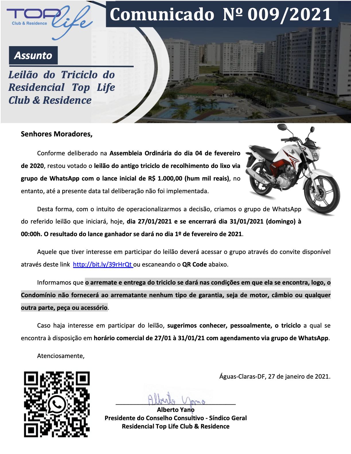 Comunicado 009/2021 - Leilão da Motocar